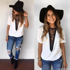 Loving this look!! lace up t shirt distressed denim