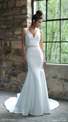 Sincerity Bridal Fall 2018 Satin Trumpet Gown with Back Bow Detail