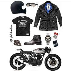 Motorcycle Men, Cafe Racer Motorcycle, Motorcycle Outfit, Motorcycle Clothes, Cafe Racer Clothing, Biker Wear, Rocker Look, Vintage Biker, Bike Style