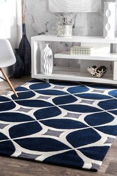 Handgetufteter Teppich Langley Street Jamar in Marineblau / Grau – Area Rugs on hardwood Bedroom Carpet, Living Room Carpet, Rugs In Living Room, Living Room Decor, Navy Living Rooms, Dining Room, Elegant Home Decor, Elegant Homes, Trellis Rug