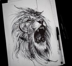 Roaring like a lion! Roaring like a lion! Leo Tattoos, Future Tattoos, Body Art Tattoos, Sleeve Tattoos, Horse Tattoos, Celtic Tattoos, Tattos, Tribal Tattoos, Lion Tattoo Design