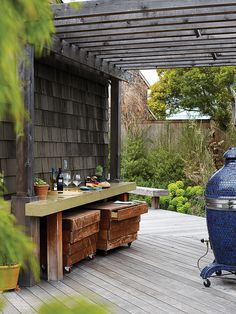 "Create an outdoor bar | Find inspiration for turning a deck into your favorite ""room"" in the house"