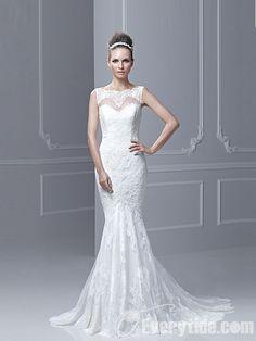 【Everytide Wedding Dress】 Trumpet / Mermaid Bateau Court Train Net Beading Wedding Dress