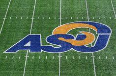 ASU logo on top of 1st Community Credit Union Field, Angelo State University, San Angelo, Texas