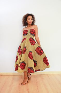 Strapless dress with a flared skirt and side pockets Flare Skirt, Strapless Dress, African, Skirts, Vintage, Dresses, Style, Fashion, Strapless Gown