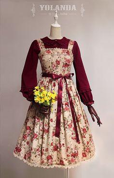 ---> Newly Added: Yolanda Camellia Printed Vintage Lolita JSK >>> http://www.my-lolita-dress.com/yolanda-camellia-printed-vintage-lolita-jumper-dress-yo-31 [Size XXXL available]