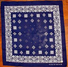 Vintage Indigo Blue Bandana Fast Color RN 15898 Circle Pattern 100% Cotton #Unbranded #Bandana