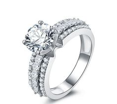 Stone: SONA DIAMOND(Top imitation diamond) Total Carat Weight : 2ct Metal: Sterling silver Metal Purity: 92.5% sterling silver 18K white gold plated