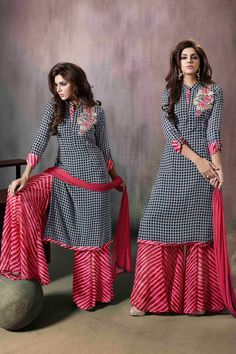 Black And Red Georgette Checks Printed Palazzo Suit