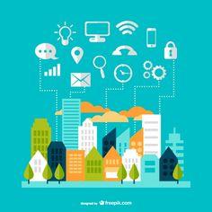 Modern communication cityscape design designed by Freepik Marketing Digital, Small Business Web Design, Smart City, Vector Photo, Flat Illustration, Illustrations, Custom Logos, Free Design, Ux Design