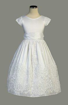 SK_310W - Communion/Flower Girl Dress Style 310 - Beautiful Ribbon Floral Taffeta Dress - First Communion Dresses - Flower Girl Dress For Less