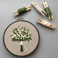 Tiny flowers are my favorite. Embroidery Hoop Art, Ribbon Embroidery, Cross Stitch Embroidery, Embroidery Patterns, Lace Beadwork, Sewing Crafts, Sewing Projects, Thread Art, Tiny Flowers