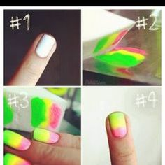 Welcome to YUMMY NAILS nail art images all at your fingertips! Featuring amateur & professional nail art from all over the world Gradient Nails, Neon Nails, Love Nails, Diy Nails, How To Do Nails, Pretty Nails, Rainbow Nails, Ombre Nail, Neon Rainbow
