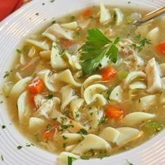 Grandma's Chicken Noodle Soup - simple and delicious. I added carrots and some chopped garlic to the broth