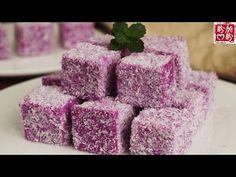 Purple sweet potato cake with milk flavor。低脂美味的紫薯椰蓉小方,软糯香甜,入口即化,做法非常简单! - YouTube Mochi Recipe, Purple Sweet Potatoes, Flavored Milk, Potato Cakes, Asian Desserts, Raspberry, Fruit, Recipes, Gluten Free