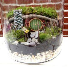 Hobbit House Fairy Garden or Terrarium Set  by MossyPocketss