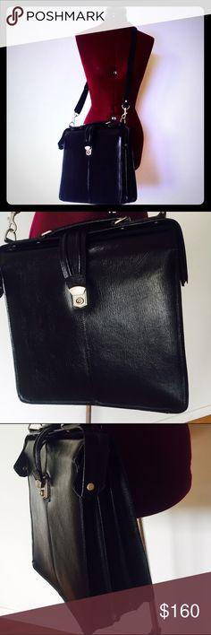 Leather Messenger Bag Computer Brief Case APC Quality Black Cross Body Book