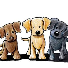 Matted Original Art Labrador Retriever Dogs ACEO Ebsq by KiniArt