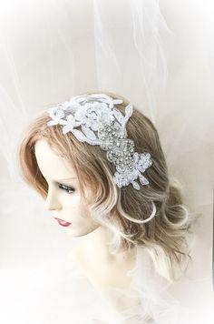 White lace bridal headpiece  beaded lace by AnitaHiltonweddings