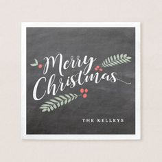 Holly and Berries Merry Christmas Holiday Paper Napkin