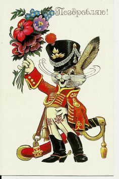 Merry Rabbit Hussar with flowers -Vintage Russian Postcard