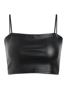Prepare to take the plunge in this amazing black faux leather crop top! It is featured in a stretchy faux leather fabric and has spaghetti straps, a close fit, and a cropped length. Bikini Jaune, Bikini Bleu, Cami Crop Top, Long Sleeve Crop Top, Top Cropped, Faux Leather Fabric, Black Faux Leather, Bikini Orange, Legging Jean