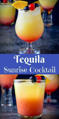 This refreshing and delicious tequila sunrise cocktail recipe is great for any g. - This refreshing and delicious tequila sunrise cocktail recipe is great for any g. Beach Cocktails, Summer Drinks, Cocktail Drinks, Cocktail Movie, Cocktail Sauce, Cocktail Attire, Cocktail Prosecco, Lemonade Cocktail, Summer Drink Recipes