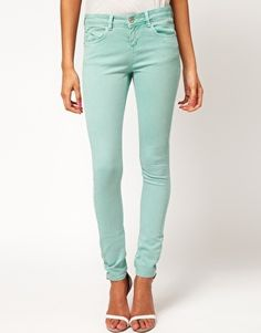 ASOS Skinny Jeans In Soft Turquoise
