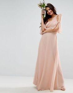Vestido largo con diseño asimétrico de ASOS WEDDING