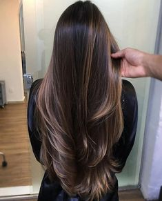 long hair highlights Long Hair Gorgeous Chocolate Brown Hair Colors in 2020 among the trends Brown Hair Cuts, Brown Hair Looks, Brown Hair Shades, Long Brown Hair, Light Brown Hair, Luxy Hair, Chocolate Brown Hair Color, Brown Hair With Highlights, Hair Lengths