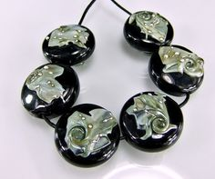 Black Grey Silver Lampwork Bead Set SRA Glass by skyvalleybeads