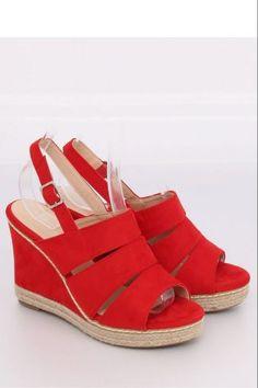 Ψηλοτάκουνες σουέντ πλατφόρμες - Κόκκινο Espadrilles, Wedges, Sandals, Shoes, Fashion, Espadrilles Outfit, Slide Sandals, Moda, Shoes Sandals