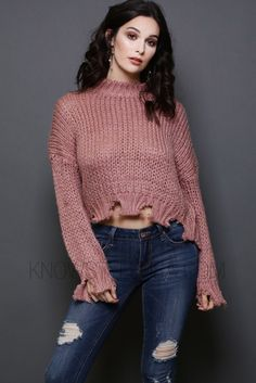 """- Heavy Thread Destroyed Rib Band Crop Sweater - 100% Acrylic - Hand Wash Cold - Not Bleach - Model is wearing a size SMALL - Model body measurements: Height 5'6"""" / Weight 110 lbs / Bust 34 / Waist 24"""