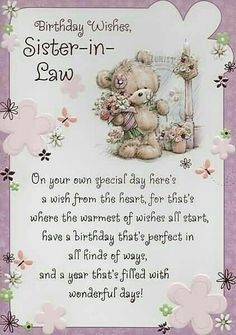 To My Wonderful Sister In Law Yvonne. All My Love For Your Birthday.