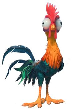 Heihei is a character in the 2016 Disney animated feature film Moana. He is a rooster that unintentionally joins Moana and Maui on their journey across the ocean. The character of Heihei was present in the earliest versions of the story, though with an entirely different personality. Originally, Heihei was assigned to join Moana's journey as an antagonistic watchdog, by orders of Chief Tui. He was portrayed as aggressive, proud, and judgmental, with most of his attempted comedy coming fro...