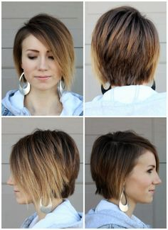 Ombre asymetrical long pixie