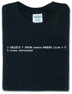 ThinkGeek :: SQL query :: SELECT * FROM users WHERE clue > 0