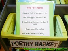 Make a Poetry Basket for the Reading Center...add poems after studying them for students to read independently (as a choice at the center)