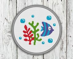 Cute Blue Fish With Water Plants and Bubbles Counted Cross Stitch Pattern - PDF, Instant Download
