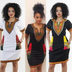 Fashion Traditional African Print Dashiki Dress Short Sleeve Party Dress