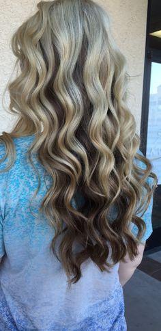 Barrel curls reverse blonde to dark ombre