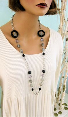 Long Black and Grey Beaded Necklace Black Beaded Necklace