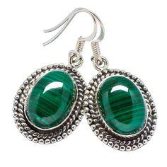 """Malachite 925 Sterling Silver Earrings 1 3/8"""" EARR330561"""