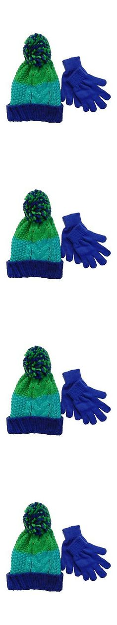 086f06c2989 Hats 15630  Berkshire Girls Green And Blue Striped Cable Knit Beanie Pom  Pom Hat And Gloves Set -  BUY IT NOW ONLY   34.45 on eBay!