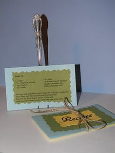 Bended Fork Recipe Card Holder - great project for men that have some hand strength and dexterity - set up a vice to hold in place - would make nice gift item - or fundraiser item Recipe Card Holders, Recipe Cards, Place Card Holders, Jewelry Box Makeover, Diy Projects To Try, Sewing Projects, Craft Activities, Craft Gifts, Teacher Gifts