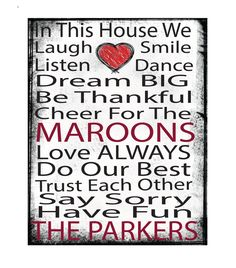 printed canvas, 11x14 canvas, mounted canvas, ready to hang canvas,Roanoke College, Maroons, RC, Virginia, dorm art, In this house by LuckyDogPrinting on Etsy https://www.etsy.com/listing/220080520/printed-canvas-11x14-canvas-mounted