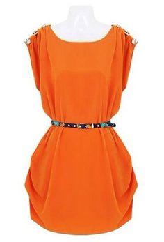 Orange Sleeveless Shoulder Buttons Embellished Dress