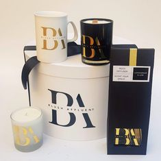 we brand gift boxes, aroma soy candles, mugs and reed diffusers in a variety of colours  #howto email marketing@ontrendmarketing #templates
