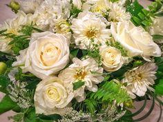 Crisp and clean whites for a memorial piece. Crisp, Floral Design, Floral Patterns