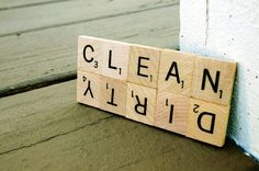 Clean Dirty Dishwasher Magnet made from Scrabble tiles
